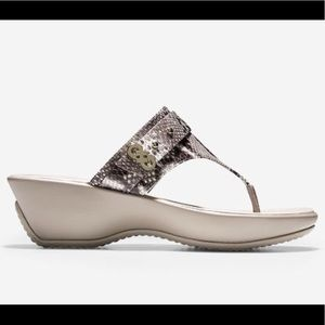 Cole Haan Margate Snake Print Wedge Thong Sandals